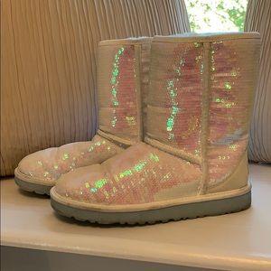 Iridescent sequin UGG boots